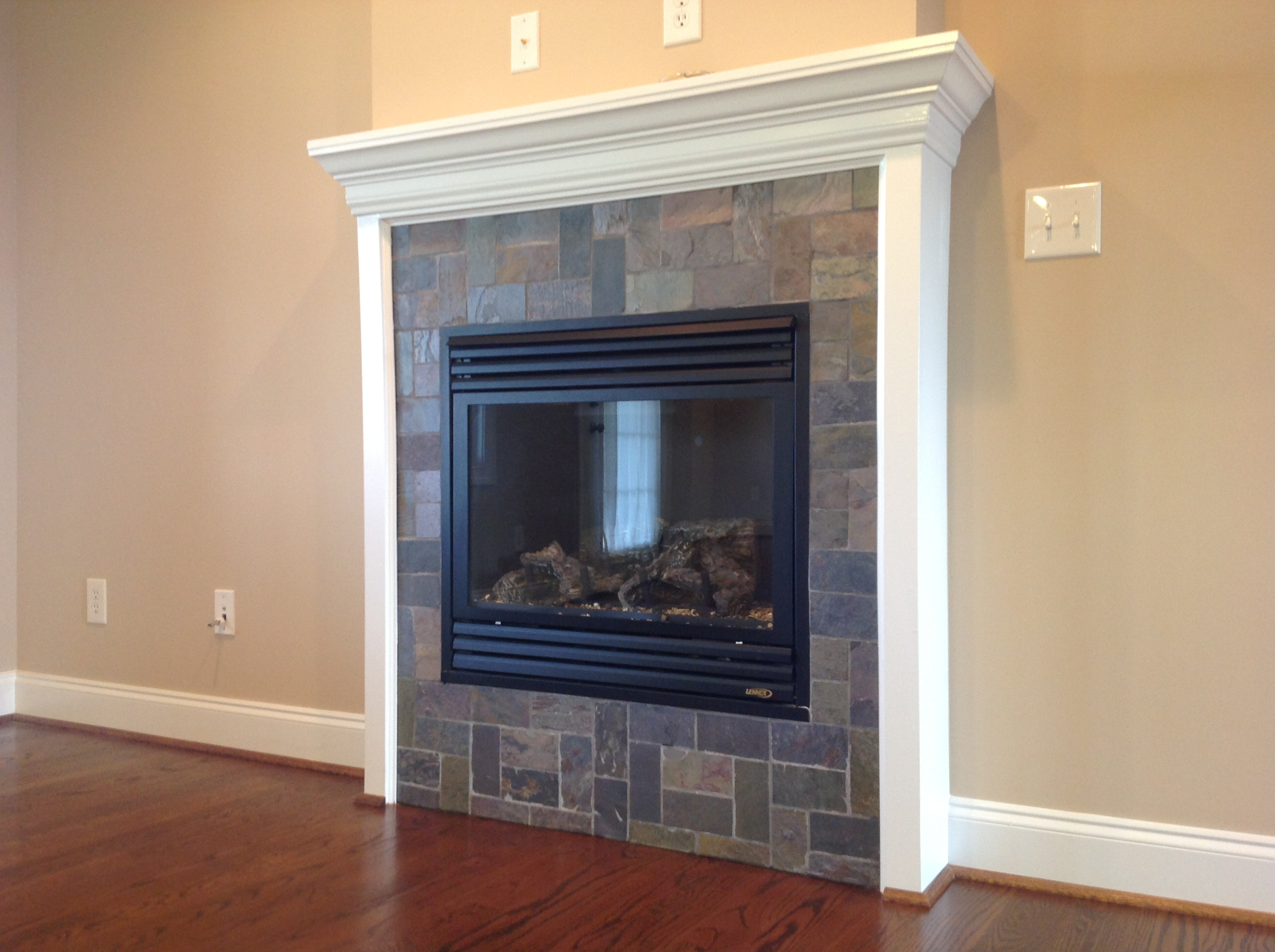 vented gas log fireplace w slate surround boutrosinc